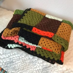Handmade knitted crocheted colorful throw blanket
